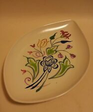 Poole pottery shape 91 teardrop leaf large pin dish tray hand painted signed BN