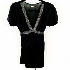 Weavers Womens Black Short Sleeve Blouse Size Medium
