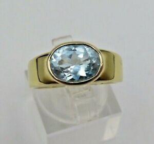 Traumhafter 585 Gold Ring mit Blautopas (d)9-6