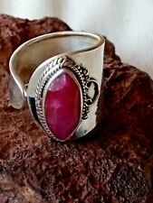 STERLING SILVER ADJUSTABLE 17mm.RING with a RUBY FACETED STONE £34.95 NWT