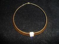 Signed Christian Dior Chr. Necklace Rhinestone Crystal Vintage Gold Tone Choker