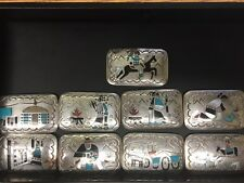 Antique Navajo Sterling Silver & Inlay Stone 9 Piece Belt Buckle Set, Signed BB