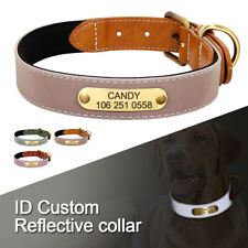 Reflective Custom Personalized Dog Collar Engraved ID Nameplate Adjustable S-2XL