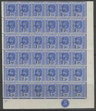 CAYMAN ISLANDS SG54 1917 1½d on 2½d DEEP BLUE PLATE 5 BLOCK OF 36 MNH