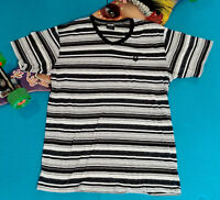 Zoo York Men's Black White Gray Silver Striped V Neck T-shirt Size Large EUC