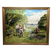 English Artwork Oil Painting Children Playing By River & Dog After Myles Foster