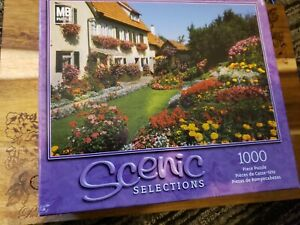 Scenic Selections Cottage Flowers 1000 Piece  Cardboard Puzzle New Sealed