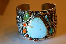 Kingman Waterweb, Coral and Orange Spiny Oyster Cuff Bracelet by Daryl Becenti