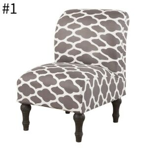 One-Piece Armless Low Chair Cover Removable Seat Slipcover with Elastic Loop