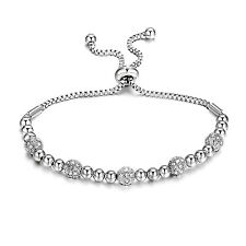 Silver Beaded Friendship Bracelet avec cristaux de Swarovski ®