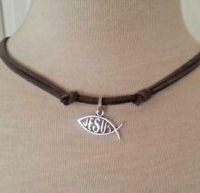 Leather Necklace Fish Faith Jesus Charm Pendant Handmade Men's Woman Choker Gray