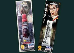 2 - Zombie Fake Blood Red + White Creme Party Face Paint Makeup 1 OZ each