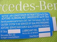 Neuer orig. Aufkleber Klimaanlage Aircondition R12  R134a Füllmenge Umrüstung