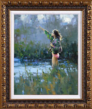 """Hand-painted Original Oil painting art knife flower girl On Canvas 20""""x24"""""""