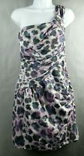 Maggy London Dress Size 14 Mini one Shoulder Purple print
