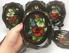Vintage Russian Floral Hand Painted Oval Metal Snack Tip Cocktail Tray Set of 6