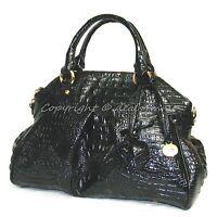 NWT Brahmin Louise Rose Satchel Black Croc-Embossed Leather Satchel/Shoulder bag