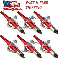 6/12pc Broadheads 100 Grain Arrow Head Metal Arrowheads Points Tips Hunting USA