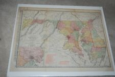 RAND-McNALLY 1912 NEW COMMERCIAL ATLAS MAP MARYLAND & DELAWARE