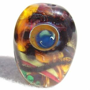HARVEST Handmade Art Glass Focal Bead Flaming Fools Lampwork Art Glass SRA