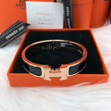 BNIB 2017 HERMES CLIC CLAC ENAMEL BANGLE H BRACELET BLACK ROSE GOLD PLATED PM