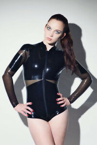 Latex Catsuit Rubber Gummi Sexy Female Jacket Transparent Black Customized 0.4mm