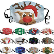 Christmas Face Mask Washable Reusable Protective Covering Mouth Masks Print XMAS