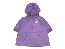 Nike Girls Sportswear Pullover Half Zip Poncho Cape Sweater Shirt Purple New