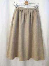 """Vintage Allen Bernard Scallop Hem Wool Skirt Neutral Women's Sz S M 27"""" Waist"""