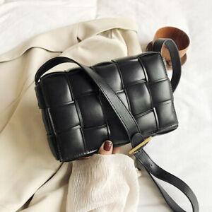 Women Padded Cassette Clutch Bag Crossbody Shoulder Purse Cloud Pouch PU Leather