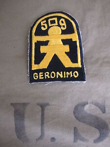 509th Airborne Infantry Division Geronimo Parachute Insignia Patch US Army WW2