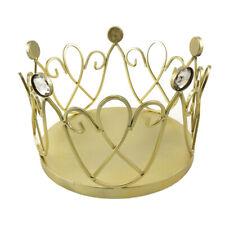 Wire Heart Design & Rhinestones Metal Crown, Gold, 10-Inch