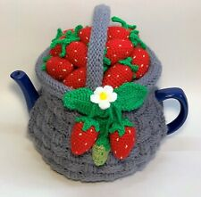 """Tea cozy. Teapot cosy. Knitted Tea Cosy. Tea cosies """"Basket with strawberries""""."""