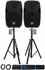"""2) Rockville BPA15 15"""" Powered 800W DJ PA Speakers w Bluetooth+Stands+Cables+Bag"""