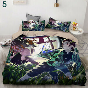 Demon Slayer 3PC 3D Bedding Quilt Cover Pillowcase Fit Twin Ful Queen King Soft