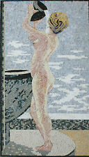 Nude Lady Shower Bathroom Hair Updo Water Pot Marble Mosaic Fg918