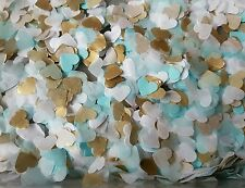 1200 BABY BLUE and GOLD & WHITE  HEART WEDDING THROWING CONFETTI/DECORATION.ECO