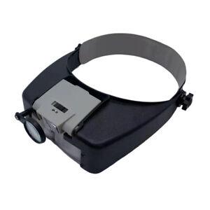Headband Headset LED Head Lamp Visor Jeweler Magnifier Magnifying Glass Loupe