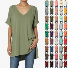 TheMogan S~3X Casual V-Neck Rolled Short Sleeve Hi-Low Side Slit Tunic Top Tee
