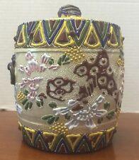 Unusual Antique Pre Nippon Heavily Beaded Moriage Lidded Jar Hand Painted
