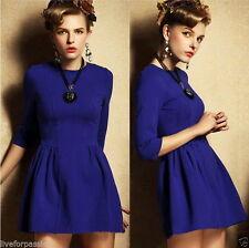 Calf Length Cotton Blend 3/4 Sleeve Casual Dresses for Women