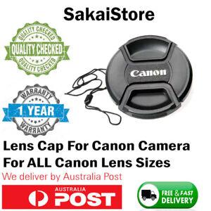 CANON LENS CAP - 52 58mm 62 67mm 72 77mm  Camera Snap-on Len Cap Cover + Cord