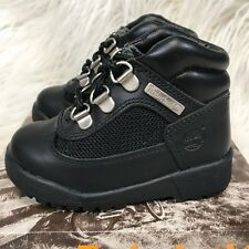 "TIMBERLAND FIELD BOOT TODDLER BLACK LEATHER KIDS BOOTS ""NIB"""
