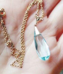 ANTIQUE Edwardian Aquamarine Crystal Paste Drop Necklace Vintage JEWELLERY