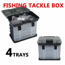 Tackle Box 4 Removable Tackle Tray System With Top Bulk Storage Fishing RR