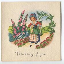 Vintage Victorian Girl Garden Hollyhock Arbor 1 Christmas Morning Tree Doll Card