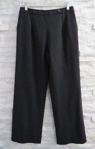 Carolina Herrera $1,290 Black Stretch Wool Pleat Front Fully Lined Dress Pants 6
