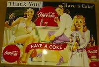 VTG Thank You Have A Coke METAL COCA COLA SIGN 50's COKE JV Reed  16.75x11.75