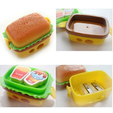 Simulation double hamburger pencil sharpener DOUBLE METAL with two eraser 290