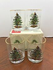 4 Spode Christmas Tree Glass Tumblers Double Old Fashions Glasses Gold Trim